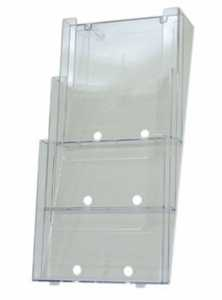 3 Compartment, Wall Mounting A4 Brochure Holder